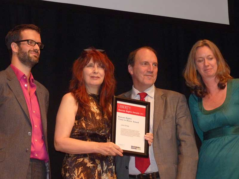 Marcus Brigstocke, Janis Sharp (mother of Gary McKinnon), Simon Hughes (deputy Leader of the LibDem Party) and Justine Roberts (founder of mumsnet) Liberty Human Rights Award 2011